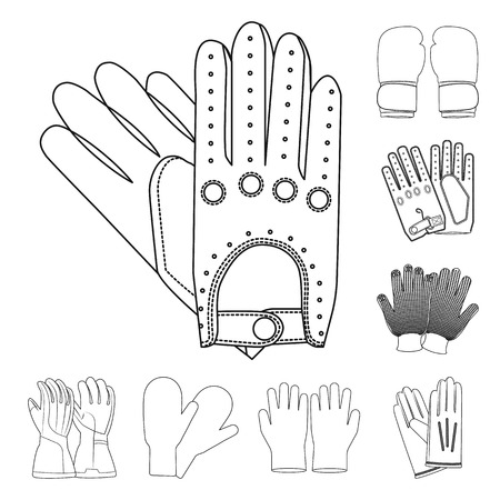 Vector design of glove and winter sign. Set of glove and equipment stock vector illustration.