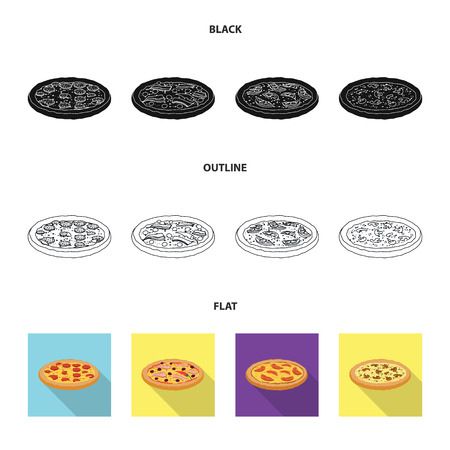 Isolated object of pizza and food icon. Set of pizza and italy vector icon for stock.