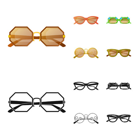 Vector design of glasses and sunglasses sign. Collection of glasses and accessory stock symbol for web.