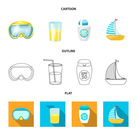 Isolated object of equipment and swimming logo. Collection of equipment and activity stock symbol for web.
