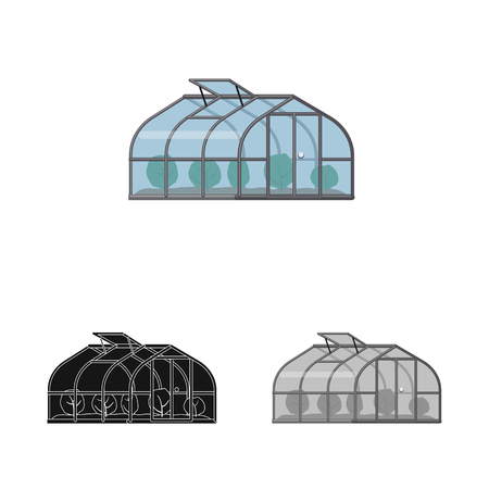 Vector illustration of greenhouse and plant sign. Set of greenhouse and garden stock symbol for web.
