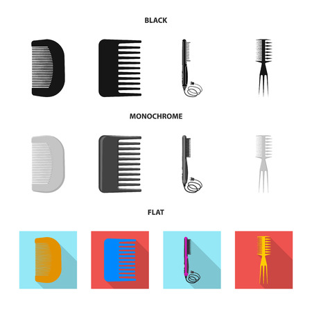 Vector illustration of brush and hair sign. Collection of brush and hairbrush stock vector illustration.