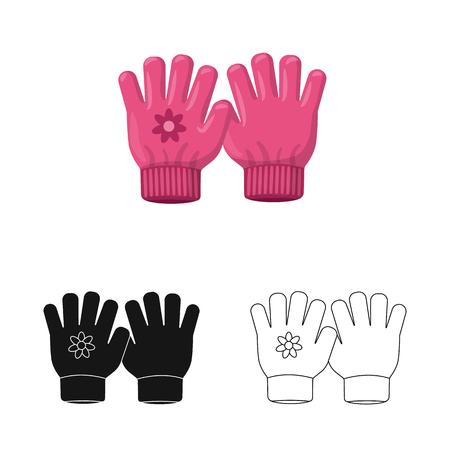 Vector illustration of glove and winter sign. Collection of glove and equipment vector icon for stock. Illusztráció