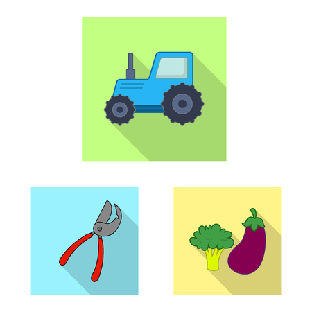 Isolated object of farm and agriculture logo. Collection of farm and plant stock symbol for web. Illustration
