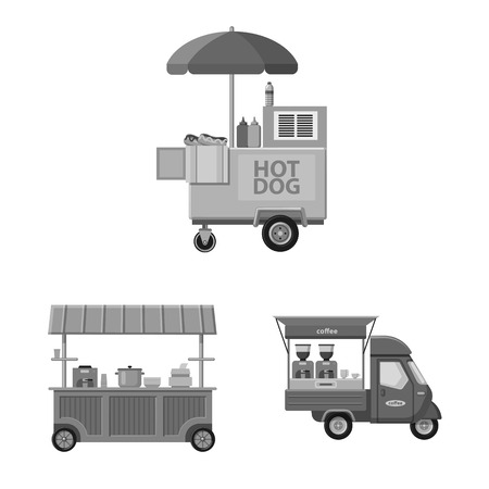 Diseño vectorial de mercado y símbolo exterior. Colección de símbolo de stock de mercado y alimentos para web.