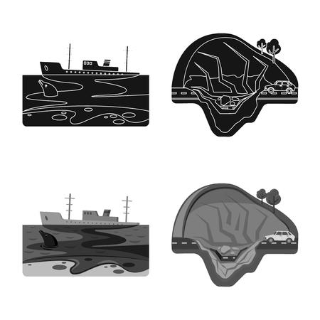 Vector illustration of natural and disaster icon. Set of natural and risk vector icon for stock. Иллюстрация