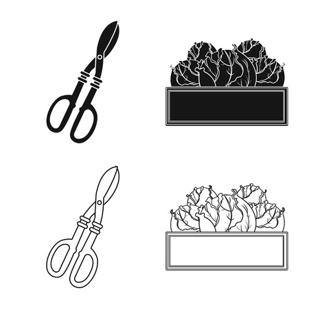 Vector illustration of farm and agriculture icon. Set of farm and plant vector icon for stock.