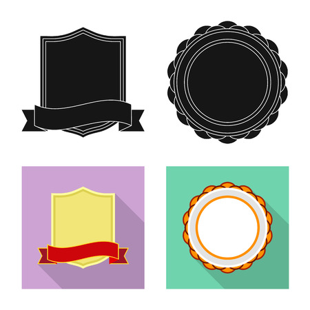 Vector illustration of emblem and badge icon. Collection of emblem and sticker stock symbol for web. Stockfoto - 112849175