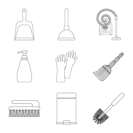 Vector illustration of cleaning and service logo. Collection of cleaning and household stock symbol for web.