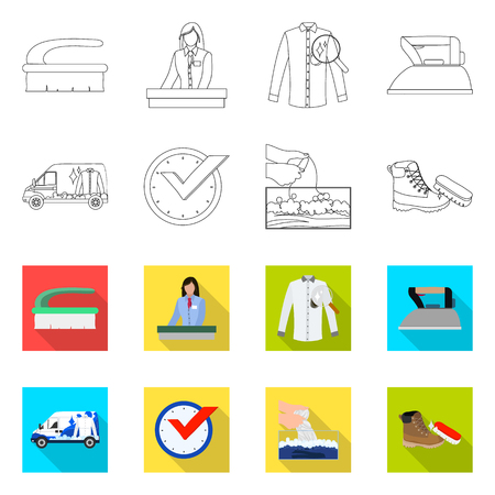 Isolated object of laundry and clean icon. Set of laundry and clothes stock vector illustration. Illustration