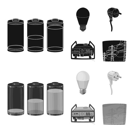 Isolated object of electricity and electric icon. Collection of electricity and energy vector icon for stock.