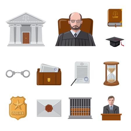 Vectorillustratie van wet en advocaat teken. Collectie van recht en rechtvaardigheid vector pictogram voor voorraad.