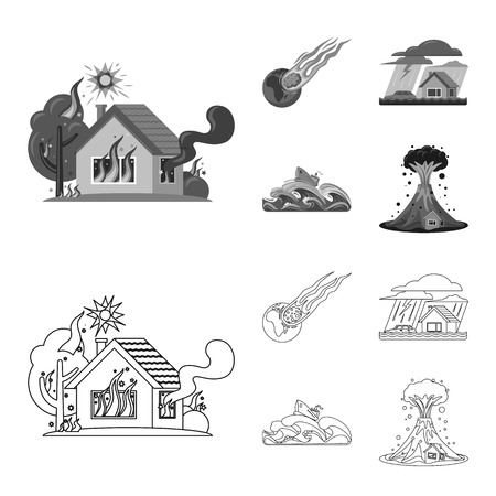 Vector illustration of natural and disaster symbol. Collection of natural and risk stock vector illustration. Illustration