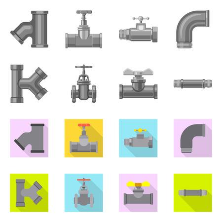 Illustration vectorielle du symbole de tuyau et de tube. Ensemble de symbole boursier de tuyau et de pipeline pour le web.