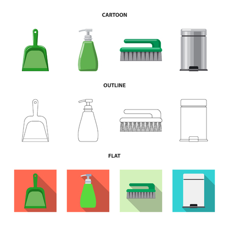 Isolated object of cleaning and service icon. Set of cleaning and household stock vector illustration. Illustration