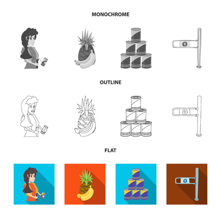 Vector illustration of food and drink sign. Collection of food and store stock vector illustration. Illustration