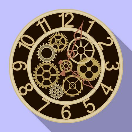 Vektorillustration der Uhr und des Zeitsymbols. Satz Uhr und Kreisvektorsymbol für Lager.