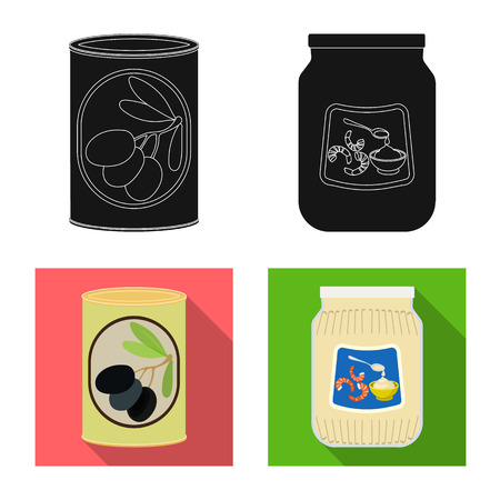 Vector design of can and food sign. Collection of can and package vector icon for stock.