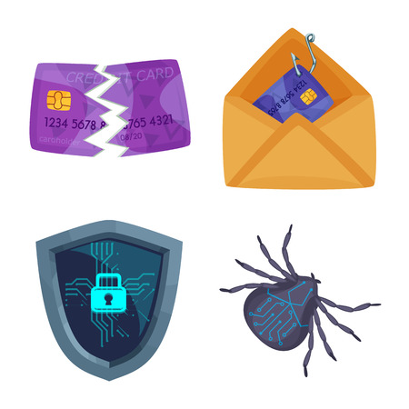 Vector illustration of virus and secure sign. Set of virus and cyber stock vector illustration.