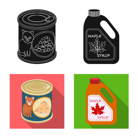 Isolated object of can and food sign. Set of can and package stock symbol for web. Ilustrace