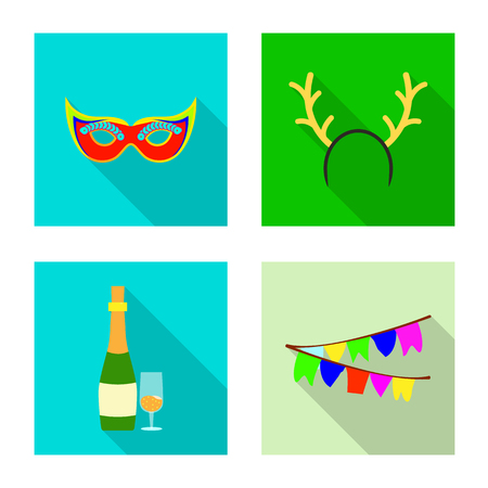 Vector illustration of party and birthday logo. Collection of party and celebration stock symbol for web.
