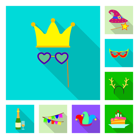 Isolated object of party and birthday symbol. Set of party and celebration stock vector illustration.