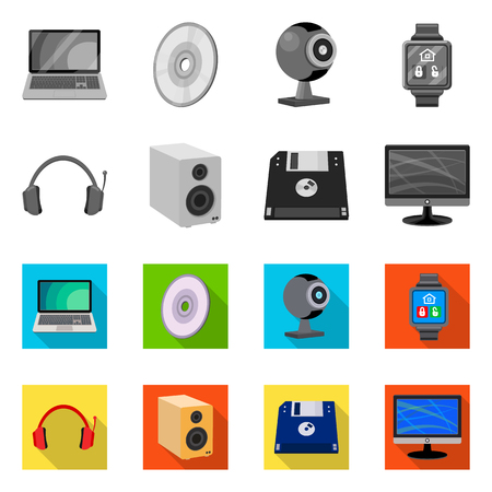 Isolated object of laptop and device icon. Collection of laptop and server stock vector illustration.