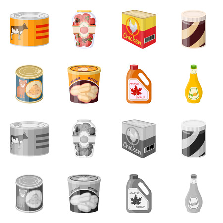 Isolated object of can and food logo. Collection of can and package stock vector illustration.
