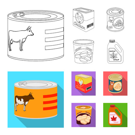 Isolated object of can and food symbol. Collection of can and package stock vector illustration.