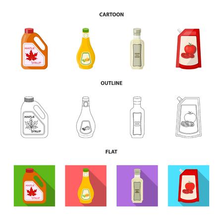 Vector illustratie van kan en voedsel teken. Collectie van kan en pakket aandelensymbool voor web. Vector Illustratie