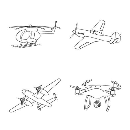 Vector illustration of plane and transport symbol. Set of plane and sky stock symbol for web. Illustration