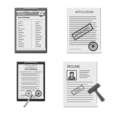 Vector illustration of form and document symbol. Collection of form and mark stock vector illustration.
