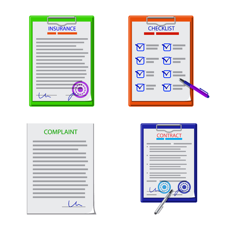 Vector illustration of form and document symbol. Set of form and mark stock symbol for web.