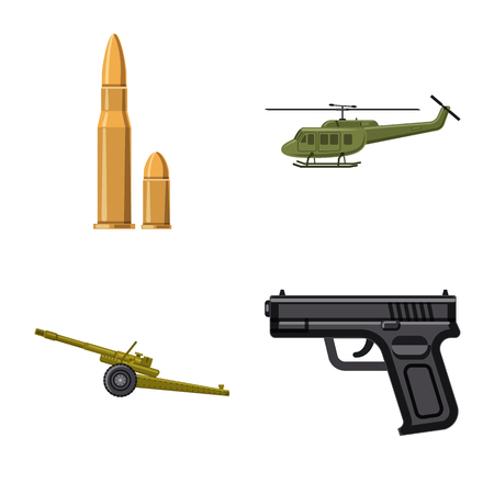 Vector illustration of weapon and gun logo. Collection of weapon and army stock symbol for web.