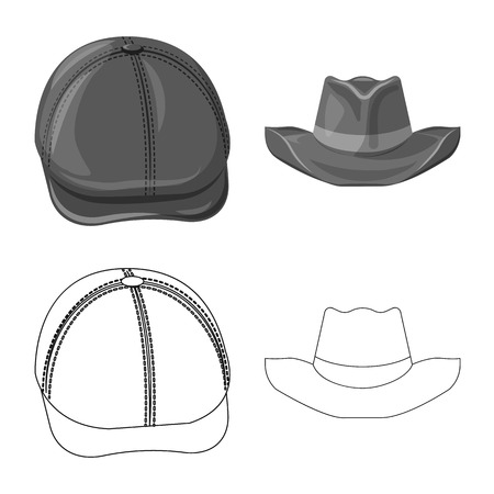 Vector design of headgear and cap logo. Collection of headgear and accessory vector icon for stock. Illustration