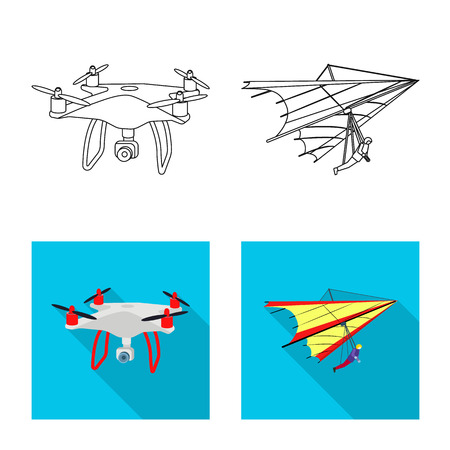 Isolated object of plane and transport symbol. Set of plane and sky vector icon for stock.