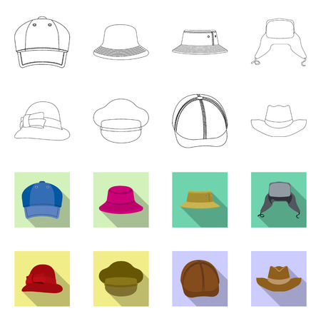 Vector design of headgear and cap sign. Collection of headgear and accessory stock vector illustration. Stock Illustratie