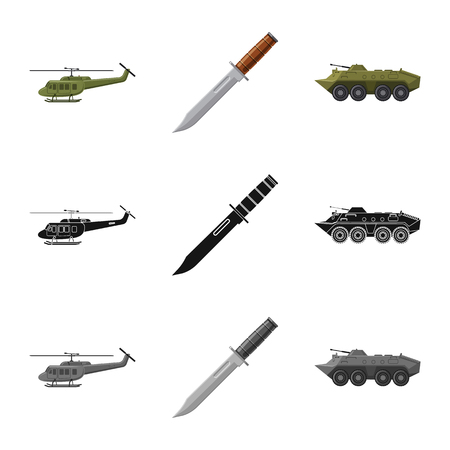 Isolated object of weapon and gun icon. Set of weapon and army stock symbol for web. Ilustracje wektorowe