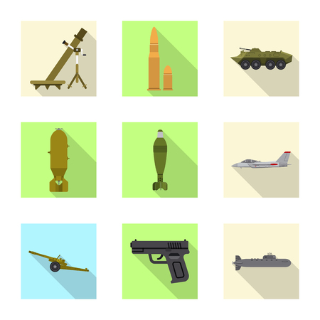 Vector design of weapon and gun icon. Set of weapon and army stock symbol for web.