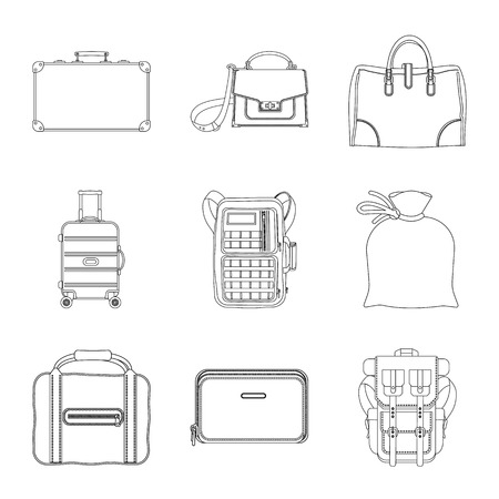 Vector illustration of suitcase and baggage icon. Set of suitcase and journey vector icon for stock. Vettoriali