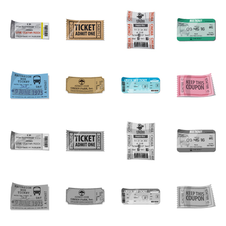 Vector illustration of ticket and admission logo. Collection of ticket and event vector icon for stock. 向量圖像