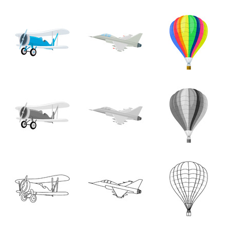 Vector design of plane and transport symbol. Collection of plane and sky stock symbol for web.