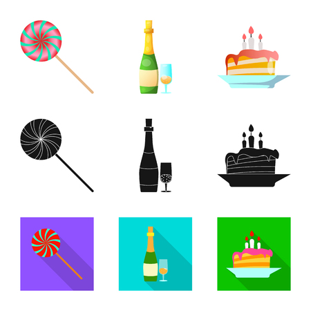 Vector design of party and birthday sign. Collection of party and celebration stock vector illustration.