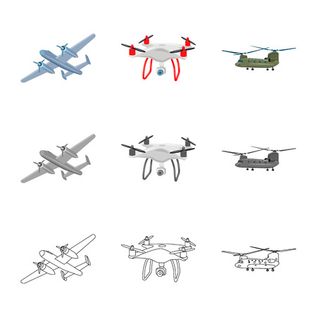 Vector illustration of plane and transport sign. Collection of plane and sky vector icon for stock. Illustration