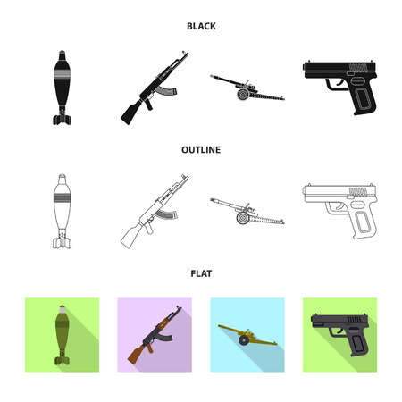 Vector design of weapon and gun sign. Set of weapon and army vector icon for stock.