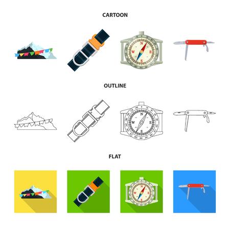 Vector illustration of mountaineering and peak logo. Set of mountaineering and camp stock vector illustration. Illustration