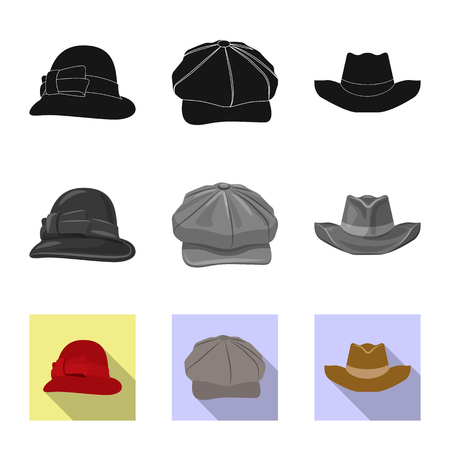 Vector design of headgear and cap sign. Set of headgear and accessory stock symbol for web.