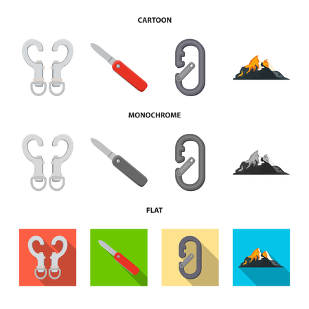 Isolated object of mountaineering and peak symbol. Set of mountaineering and camp stock vector illustration.