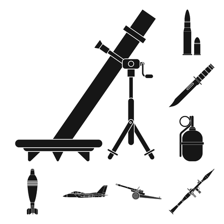 Vector illustration of weapon and gun sign. Collection of weapon and army stock symbol for web. Stock Vector - 112852063