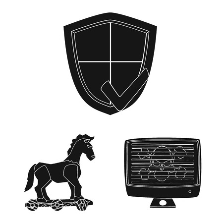 Isolated object of virus and secure sign. Collection of virus and cyber vector icon for stock. Vettoriali